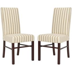 Safavieh Classical Parsons Stripe Linen Side Chairs (Pack of 2)