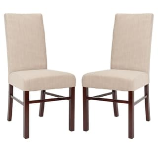 Safavieh Classical Parsons Beige Cotton Side Chairs (Pack of 2)