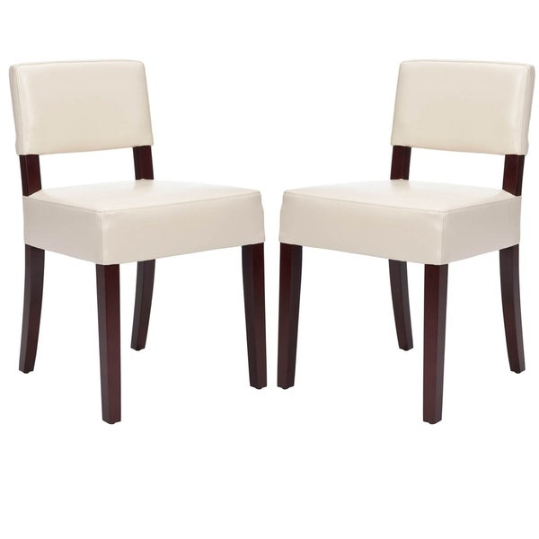 Safavieh Cosmo Cream Leather Side Chairs (Set of 2)