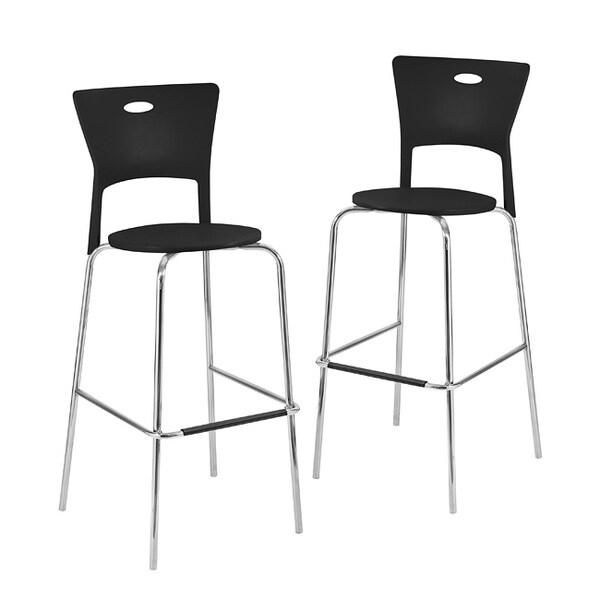 Black Stackable Modern Barstools (Pack of 2)