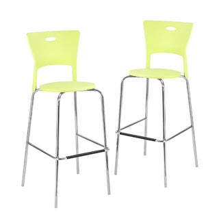 Green Stackable Modern Barstools (Pack of 2)