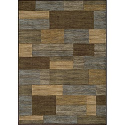 Power-loomed Illusion Bricks Blue Rug (7'10 x 9'10)