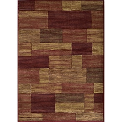 Power-loomed Illusion Bricks Red Rug (3'11 x 5'7)