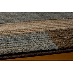 Power-loomed Illusion Bricks Blue Rug (9'3 x 12'6)