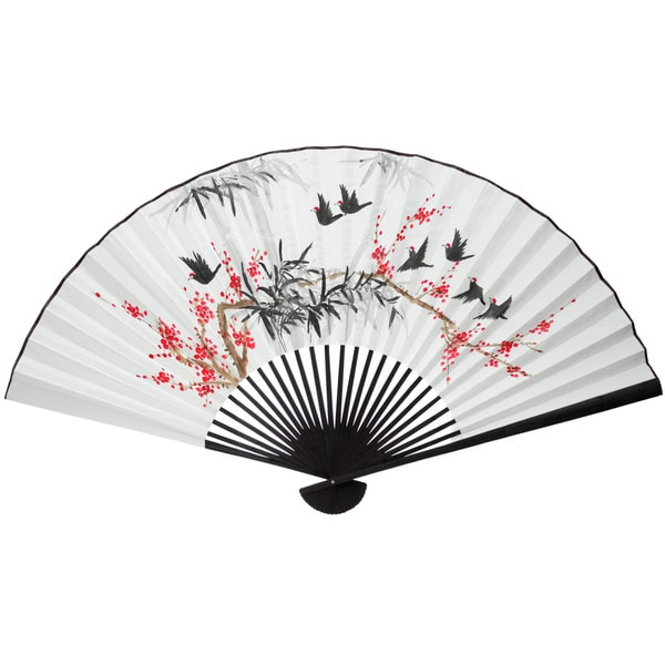 Silk Small Red Flowers and Birds Wall Fan (China)