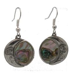 Alpaca Silver Abalone Moon Earrings (Mexico)