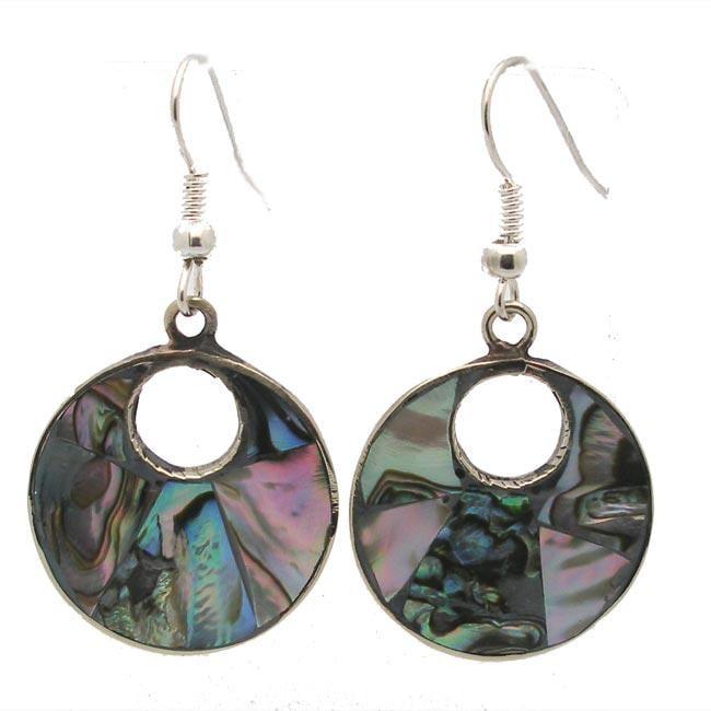 Alpaca Silver Abalone Drop Earrings (Mexico)