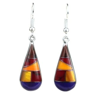 Alpaca Silver Purple and Earth Tone Stone Drop Earrings (Mexico)
