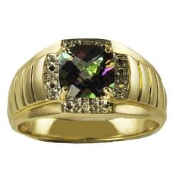Gems For You 10k Gold Men's Mystic Fire Topaz and Diamond Ring