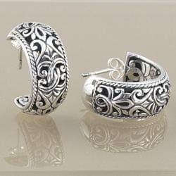 Sterling Silver Scroll Work Bali Hoop Earrings (Indonesia)
