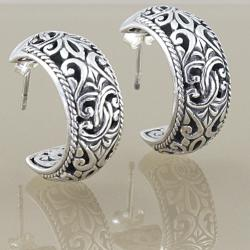 Sterling Silver Scroll Work Bali Hoop Earrings (Indonesia)