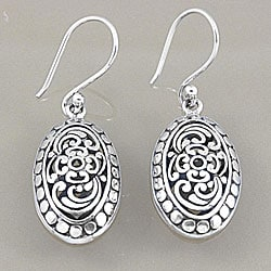 Sterling Silver Bali Oval Scroll Work Dangle Earrings (Indonesia)