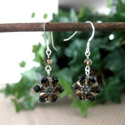 Silver Black and Smokey Sunflower Crystal Earrings