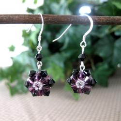 Purple and Black Sunflower Crystal Earrings