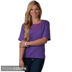 Adi Designs Women's Embellished Neck Short-Sleeve Tee
