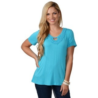 Adi Designs Women's Embellished Neck Tee