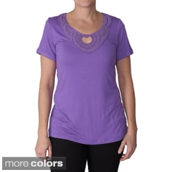 Adi Designs Women's Keyhole Embellished Neck Tee