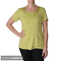 Adi Designs Women's Embellished Vee Neck Tee