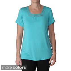 Adi Designs Women's Embellished Square Neck Tee