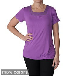Adi Designs Unlined Women's Embellished Neck Tee