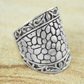 Sterling Silver Wide Cobbled Scroll Edge Princess Ring (Indonesia)