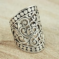 Sterling Silver Wide Cut-out Scroll with Bead Edge Ring (Indonesia)