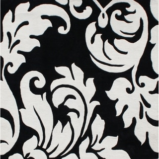Alliyah Handmade Quill Feather Black/ White New Zealand Blend Wool Rug (6' Square)