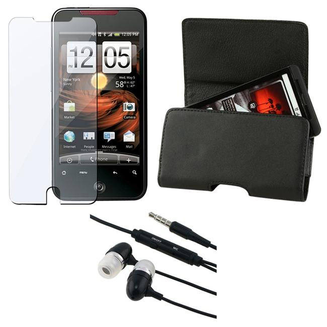INSTEN 3-piece Leather Phone Case Cover/ Screen Protector/ Headset for HTC Droid Incredible