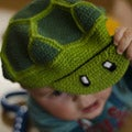 Hand Crocheted Cotton Toddler Turtle Hat (Indonesia)