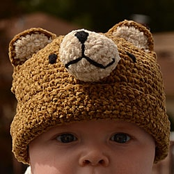 Crochet Chenille Toddler Teddy Bear Hat (Indonesia)