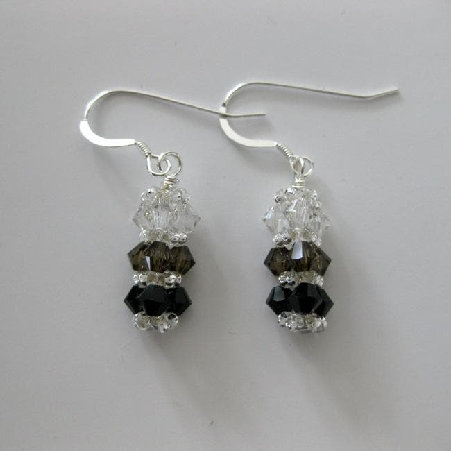 Silver, Smokey and Black Bar Crystal Earrings