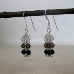 Silver, Smokey and Black Bar Crystal Earrings (USA)