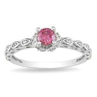 Miadora 14k White Gold 3/8ct TDW Pink and White Diamond Ring (G-H, I1-I2)