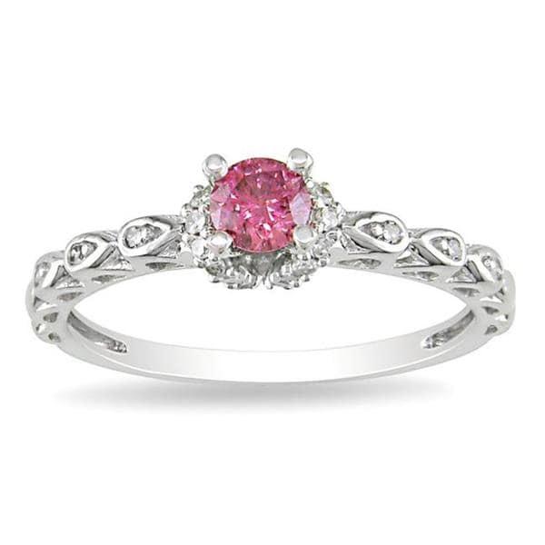Miadora 14k White Gold 3/8ct TDW Pink and White Diamond Ring (G-H, I1-I2)