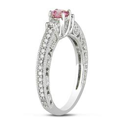 Miadora 14K White Gold 1/2ct TDW Pink and White Diamond Ring (G-H, I1-I2)