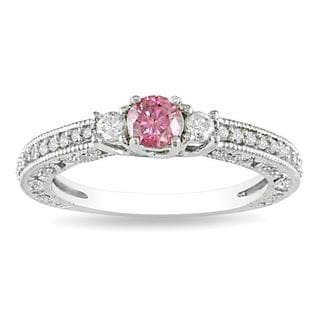 Miadora 14K White Gold 1/2ct Pink-and-white Round Diamond Ring (G-H, I1-I2)