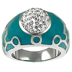 Journee Collection Stainless Steel Turquoise Enamel Pave-set CZ Ring