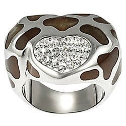 Journee Collection Stainless Steel Brown Enamel Pave-set CZ Ring
