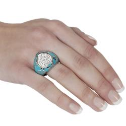 Stainless Steel Pave-set Cubic Zirconia Turquoise-colored Ring