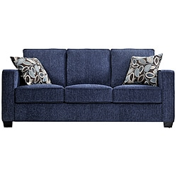 Portfolio Perie Federal Blue Chenille Sofa with Brown Modern Leaf Accent Pillows
