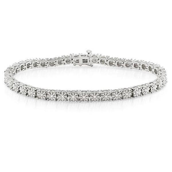 Miadora Sterling Silver 1/4ct TDW Diamond Bracelet (H-I I3)