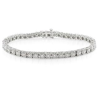 Haylee Jewels Sterling Silver 1/4ct TDW Diamond Bracelet (H-I, I3)