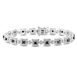 Miadora Sterling Silver 2ct TDW Black and White Diamond Bracelet (H-I, I3)