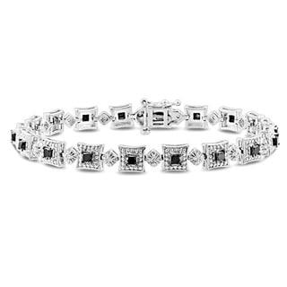 Miadora Sterling Silver 2ct TDW Black and White Diamond Bracelet (H-I, I3)