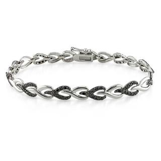 Miadora Sterling Silver 1ct TDW Black Diamond Bracelet