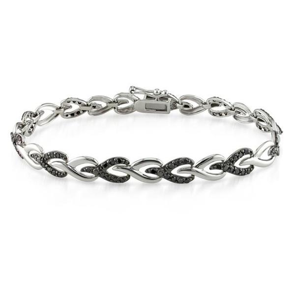 Miadora Sterling Silver 1ct TDW Black Diamond Bracelet