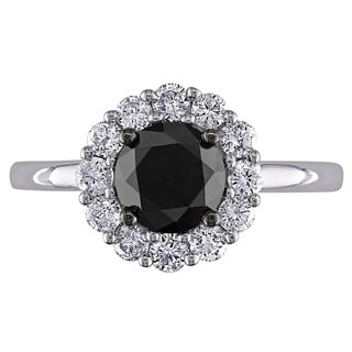 Miadora 14k White Gold 1 1/2ct TDW Black and White Diamond Halo Ring (G-H, I2-I3)