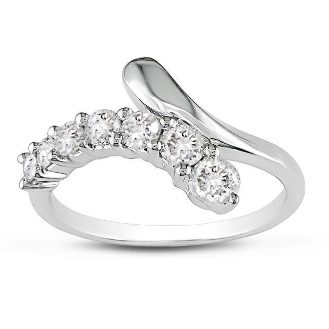 Miadora 14k White Gold 1/2ct TDW Bypass Diamond Ring (G-H, I1-I2)