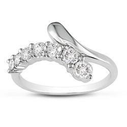 Miadora 14k White Gold 1/2ct TDW Bypass Diamond Ring (G-H, I1-I2)