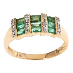 D'Yach 14k Yellow Gold Emerald and Diamond Accent Ring